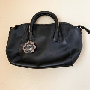Coco And Carmen Purse Black Zipper Doctor Bag NWT